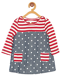 My Lil Berry Full Sleeves Stripe Frock Dot Print - White Red Grey