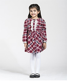 My Lil Berry Full Sleeves Check Dress - Red