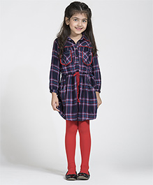 My Lil Berry Full Sleeves Check Frock - Red Navy