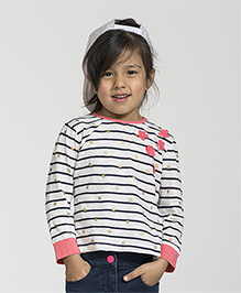 My Lil Berry Full Sleeves Stripe Top Floral Motifs - Off White Black