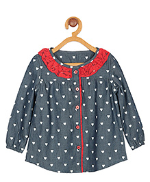 My Lil Berry Full Sleeves Top Heart Print - Bluish Grey