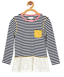My Lil Berry Full Sleeves Stripe Top Lace Detailing - White Navy