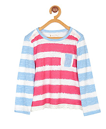 My Lil Berry Full Sleeves Sailor Cotton Jersey Top - Pink And Blue