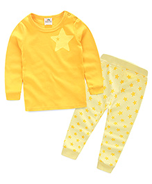 Mauve Collection Cute And Trendy Star Print Sleep Suit - Mustard