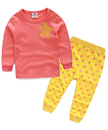 Mauve Collection Cute And Trendy Star Print Sleep Suit - PInk