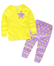 Mauve Collection Cute And Trendy Star Print Sleep Suit - Yellow