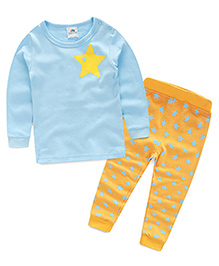 Pre Order : Mauve Collection Cute And Trendy Star Print Sleep Suit - Blue & Orange