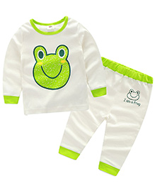 Pre Order : Mauve Collection Cute And Pretty Frog Print Sleepsuit - White