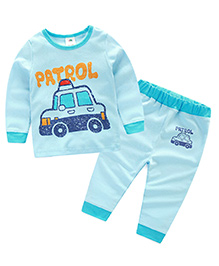 Mauve Collection Police Car Print Sleep Suit For Kids - Blue