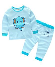 Mauve Collection Elephant Print Sleep Suit For Kids - Blue