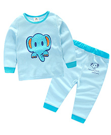 Pre Order : Mauve Collection Elephant Print Sleep Suit For Kids - Blue