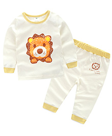 Mauve Collection Cute Lion Face Print For Kids - White