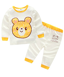 Mauve Collection Cute Teddy Print Night Suit For Kids - White