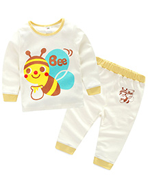 Pre Order : Mauve Collection Honey Bee Print Night Suit - White
