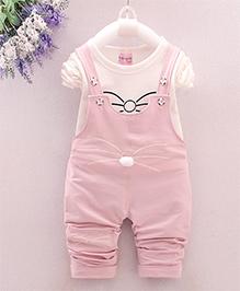 Tickles 4 U Stylish Dungaree & T-Shirt Set - Pink