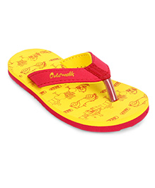 Cute Walk By Babyhug Beep Print Flip Flops - Yellow And Red