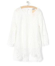 Whitehenz Clothing Cute Lace Full Sleeves Tunic - White