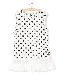 Whitehenz Clothing Polka Sleeveless Tunic - White