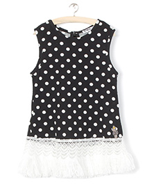 Whitehenz Clothing Polka Sleeveless Tunic - Black