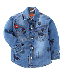 Little Kangaroos Full Sleeves Denim Shirt Arrow Print - Blue