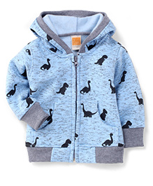 Little Kangaroos Full Sleeves Hooded Jacket Dinosaur Print - Sky Blue