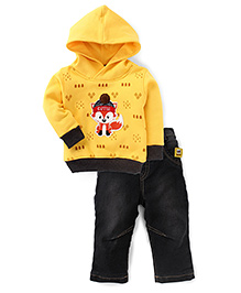 Little Kangaroos Full Sleeves Cutie  Print Hooded T-Shirt And Trouser - Yellow & Black