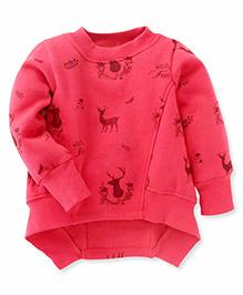 Little Kangaroos Full Sleeves Asymmetrical Sweatshirt Wild Free Print - Coral