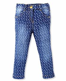 Little Kangaroos Full Length Denim Jeans Floral Print - Navy
