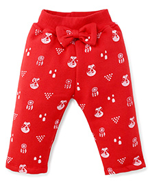 Play By Little Kangaroos Full Length Printed Leggings Bow Applique - Red