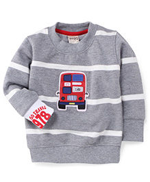 Play By Little Kangaroos Full Sleeves T-Shirt Bus Print - Gray