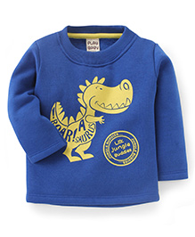 Play By Little Kangaroos Full Sleeves T-Shirt Dinosaur Print - Blue