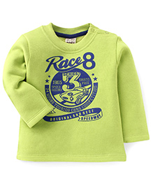 Play By Little Kangaroos Full Sleeves T-Shirt Race Print - Green