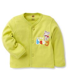 Zero Full Sleeves Vests With Snow Baby Print - Lemon Green