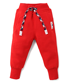 Play By Little Kangaroos Full Length Track Pants With Drawstring - Red