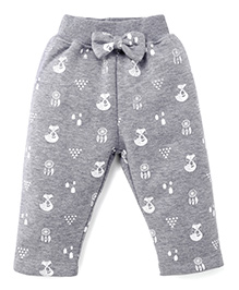 Play By Little Kangaroos Full Length Printed Leggings Bow Applique - Grey