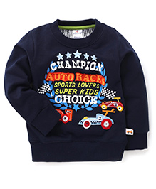 Ollypop Full Sleeves T-Shirt With Champion Auto Races Patches - Navy