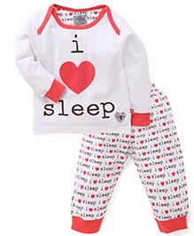 Mini Taurus Full Sleeves T-Shirt And Pajama Text Print - White Coral