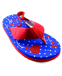 Pugs Flapper Flip Flop For The Shoeoholic With Hearts All Over Print - Red