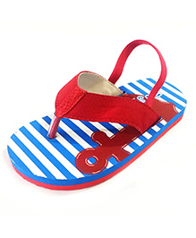Pugs Flapper Flip Flop For Little Men With Anchor Print - Red