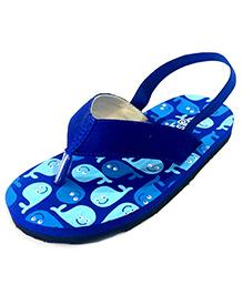 Pugs Flapper Flip Flop For Little Men With Whales Print - Blue