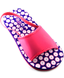 Pugs Flapper Sandal For Your Little Shoeaholic With Pretty Flowers Print - Blue