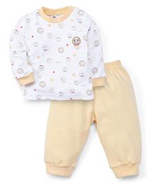 Zero Full Sleeves T-Shirt And Bottoms Marine Bear Print - White Yellow