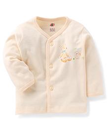 Zero Full Sleeves Vest Teddy Print - Cream
