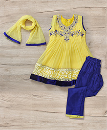 Mukaam Indian Anarkali With Embroidery - Yellow