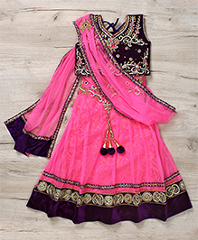 Mukaam Indian Hand Work Lehenga Blouse & Dupatta Set - Blue & Pink