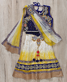 Mukaam Indian Ethnic Hand Work Lehenga - Blue & Yellow