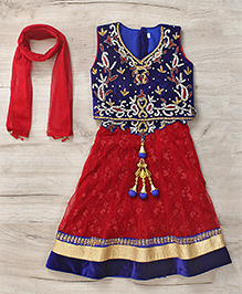 Mukaam Indian Hand Work Lehenga Blouse & Dupatta Set - Blue & Red