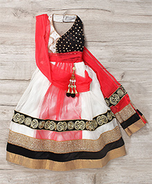 Mukaam Indian Wedding Wear Gown With Handwork - White & Orange
