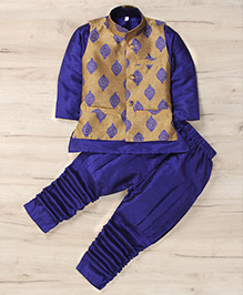 Mukaam Ethnic Kurta Pajama With Jacket - Blue