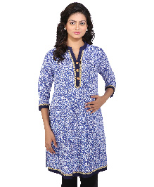 MomToBe Three Fourth Sleeves Maternity Kurti Allover Print - Blue